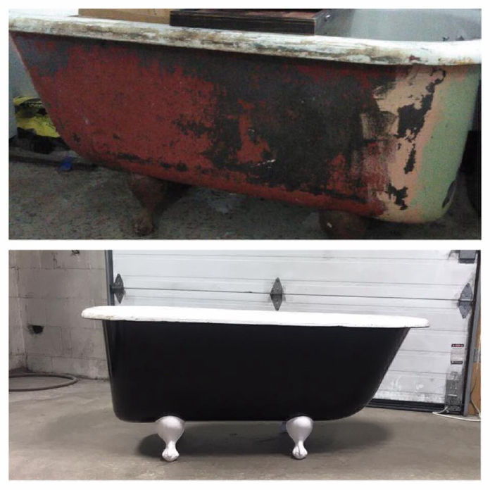 Before and after photos of a very rusty bath tub, and it powder coated looking brand new.