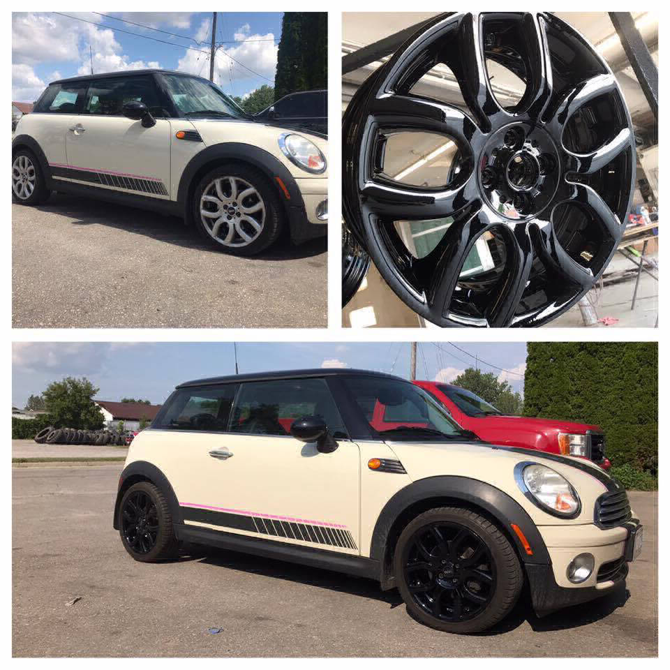 3 fold image of white car with black powder coated rims on a sunny day.