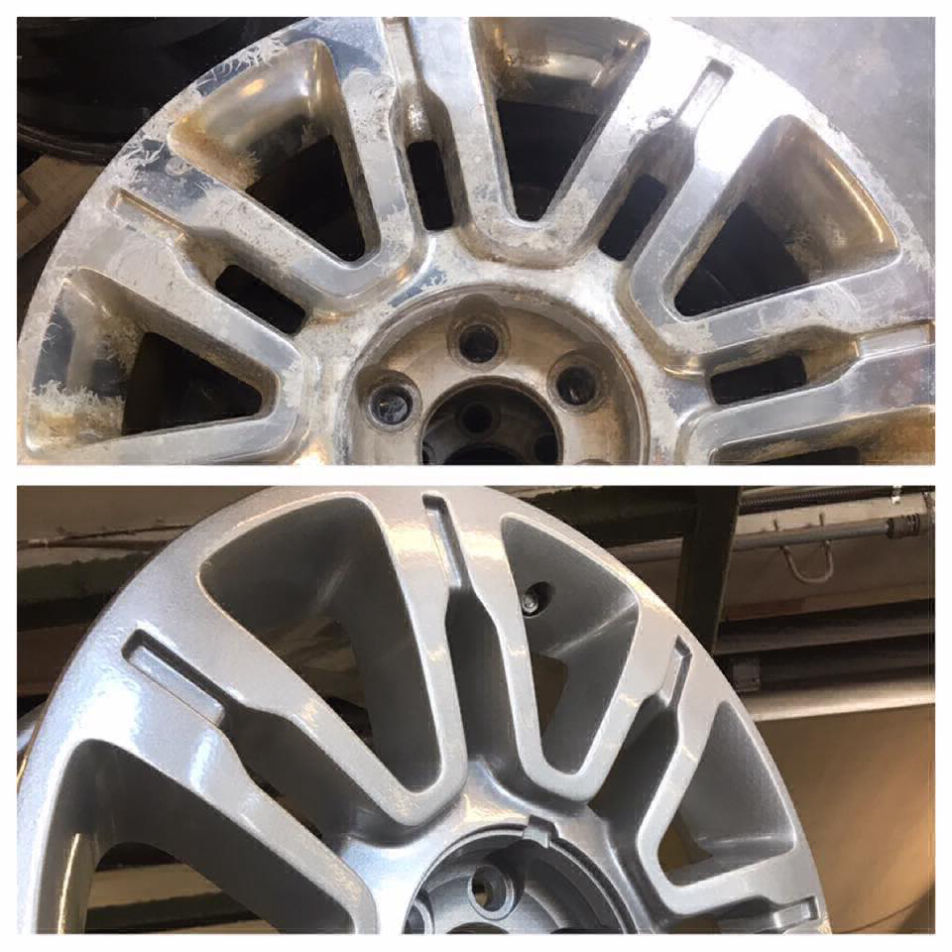 Before and after photo of rusty tire rims and newly powder coated rims.
