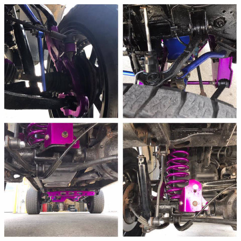 4 close up photos of underside of vehicle with parts powder coated in purple.