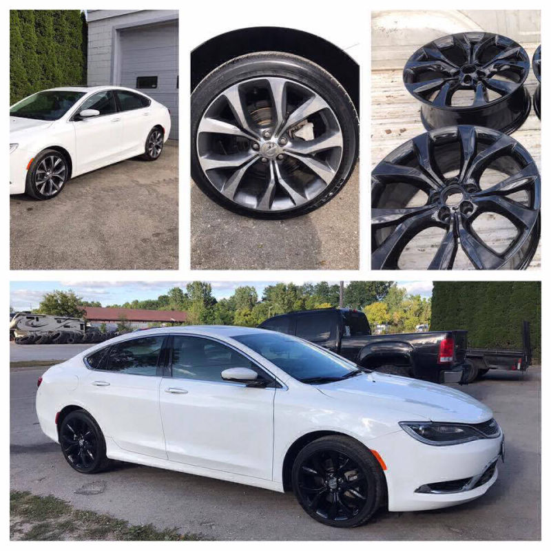 5 various photos of a white car with before and after photos of powder coated rims in black.